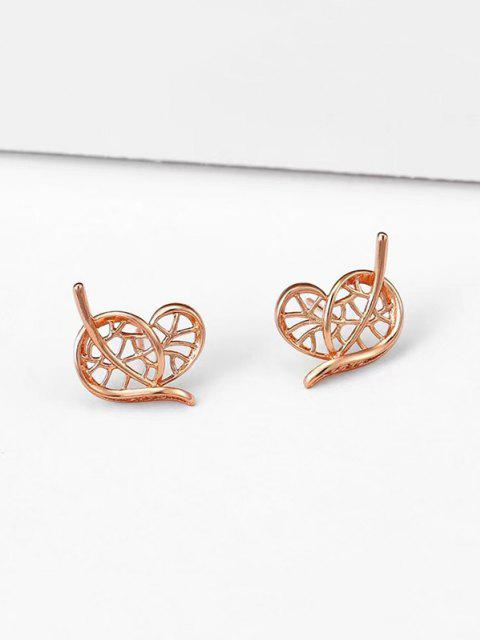 new Heart Leaf Shape Stud Earrings - ROSE GOLD  Mobile