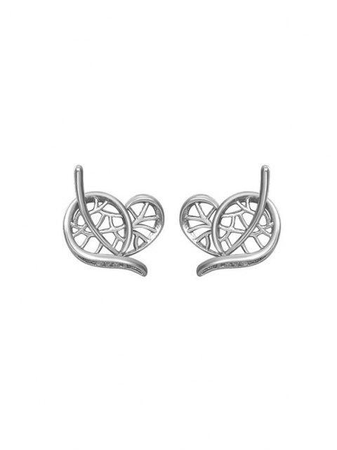Boucles D'Oreilles Feuille Cœur Design - Argent  Mobile