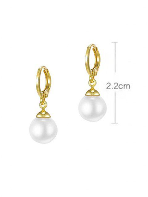 outfit Faux Pearl Gold Plated Drop Earrings - GOLDEN SMALL Mobile