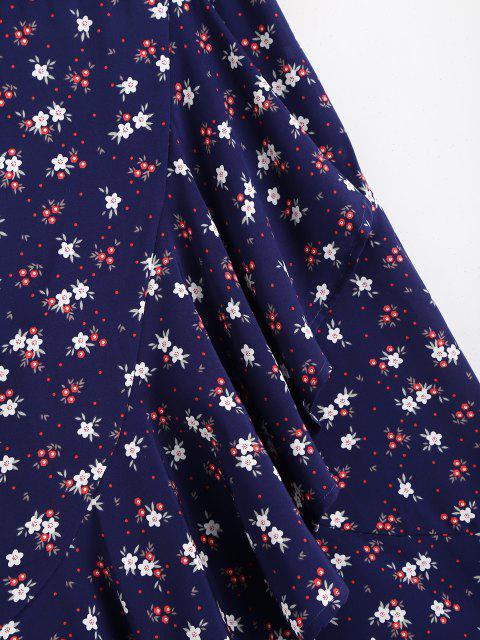 Jupe Mi-longue Fleur Imprimée Ourlet à Volants - Bleu profond L Mobile