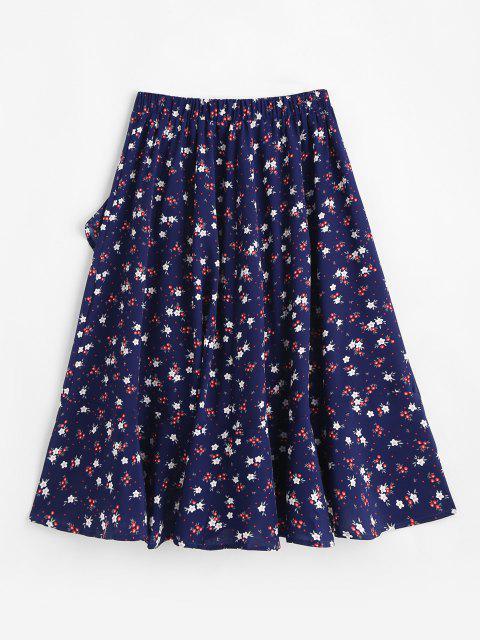 buy Flounce Hem Flower Print Midi Skirt - DEEP BLUE L Mobile