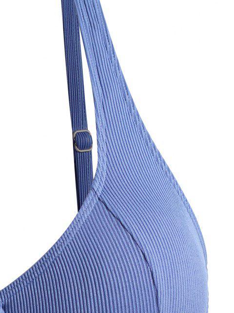 ZAFUL Top de Biquíni com Nervuras de Tamanho Grande com Meia-Taça - Azul claro XL Mobile