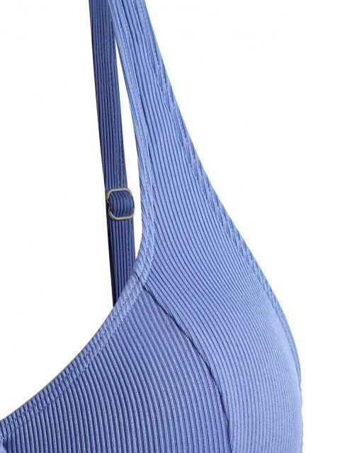 hot ZAFUL Plus Size Underwire Ribbed Bikini Top - LIGHT BLUE XXL Mobile