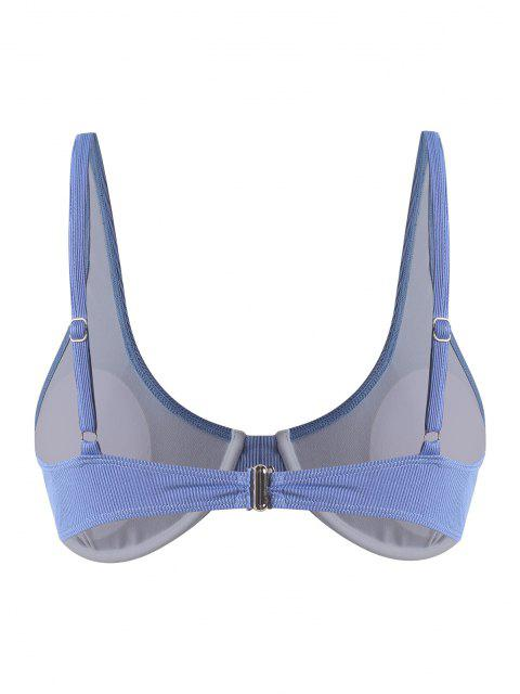 ZAFUL Plus Size Underwire Ribbed Bikini Top - أزرق فاتح XXXL Mobile