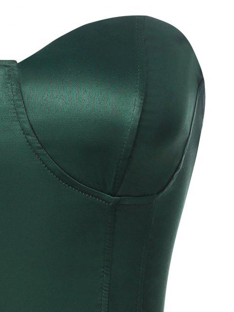 shop Silky Lace Up Corset Tube Top - GREEN S Mobile