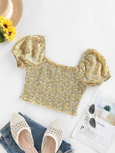 sale ZAFUL Puff Sleeve Tiny Floral Crop Blouse - LIGHT YELLOW M Mobile