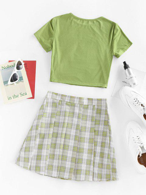 shops ZAFUL Basic Ribbed Tee and Pleated Mini Skirt Set - LIGHT GREEN XL Mobile