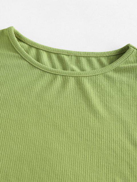 shops ZAFUL Basic Ribbed Tee and Pleated Mini Skirt Set - LIGHT GREEN XL Mobile