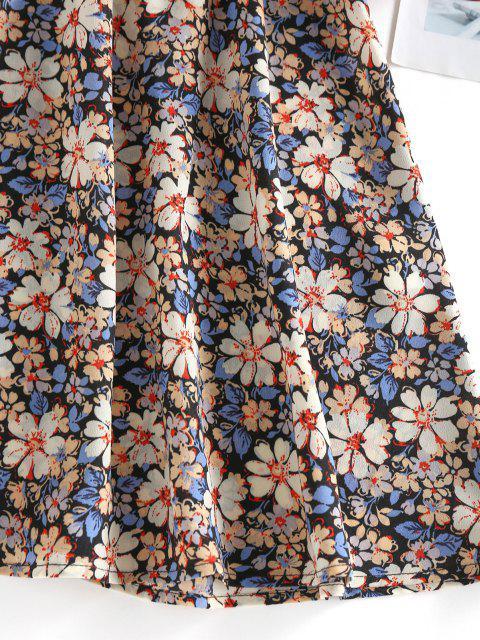 ZAFUL Blumendruck Schnürung Minikleid - Schwarz L Mobile