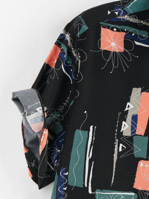 ZAFUL Hemd mit Blumen Grafikdruck - Schwarz XXL Mobile