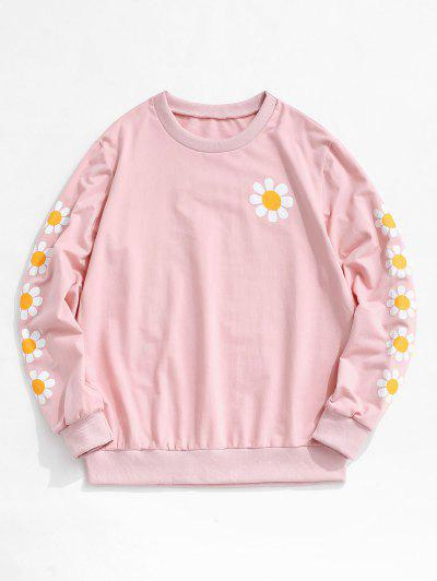 ZAFUL Daisy Print Rib-knit Trim Sweatshirt - Light Pink L