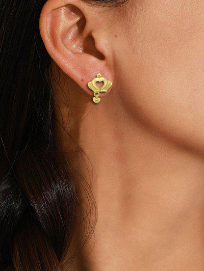 Crown Hollow Heart Stud Earrings - Golden