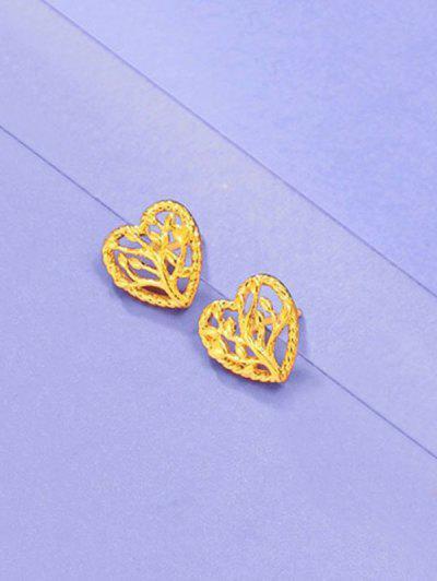 Hollow Tree Heart Shape Earrings - Golden