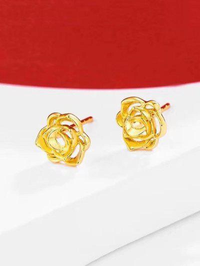 Hollow Flower Gold Plated Earrings - Golden