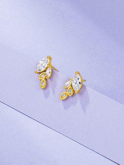 Leaves Rhinestone Gold Plated Earrings - Golden