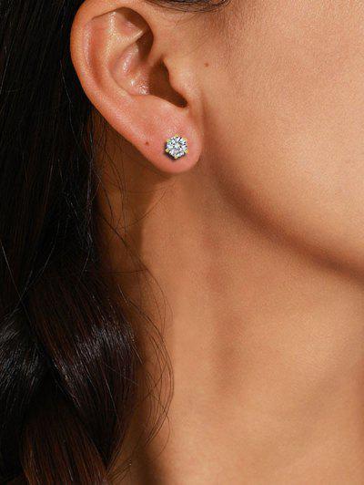 Zircon Inlaid Stud Earrings - Golden