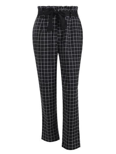 Grid Paperbag Waist Straight Pants - Black M