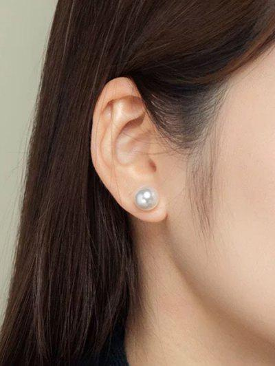 Faux Pearl Embellished Brief Stud Earrings - Silver