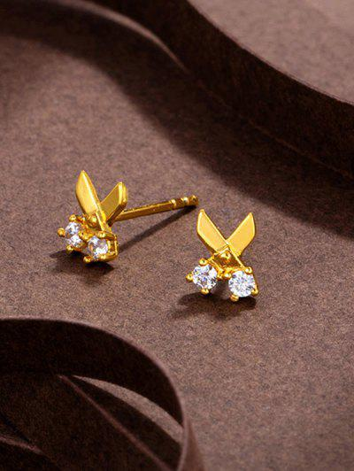Scissors Shape Rhinestone Stud Earrings - Golden