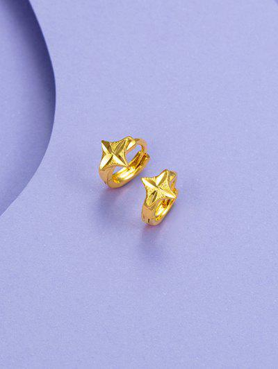 Golden Carved Four Points Star Small Hoop Earrings - Golden
