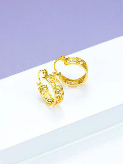 Retro Hollow Out Gold Plated Small Hoop Earrings - Golden