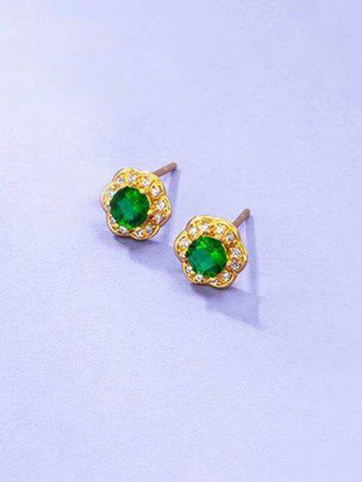 Zircon Inlaid Flower Shape Plated Stud Earrings - Emerald Green