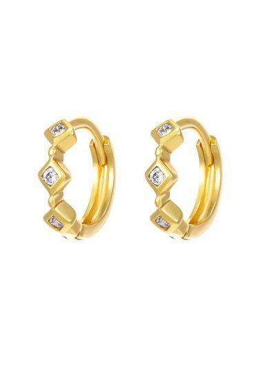 Rhinestone Inlaid Rhombus Embellished Small Hoop Earrings - Golden