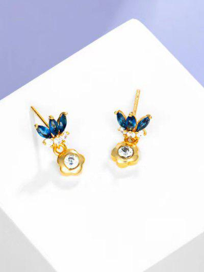 Flower Shape Zircon Inlaid Drop Stud Earrings - Golden