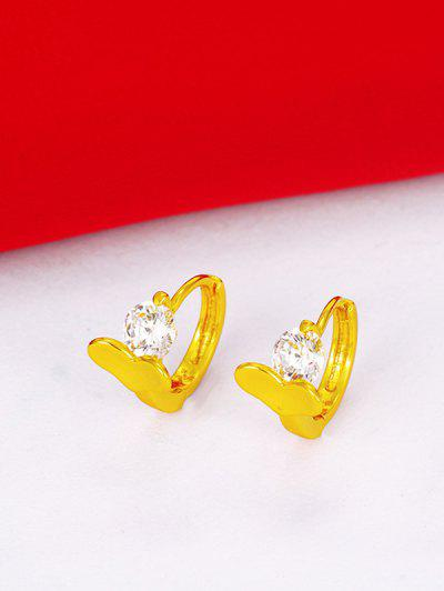 Heart Shape Zircon Embellished Pierced Hoop Earrings - Golden