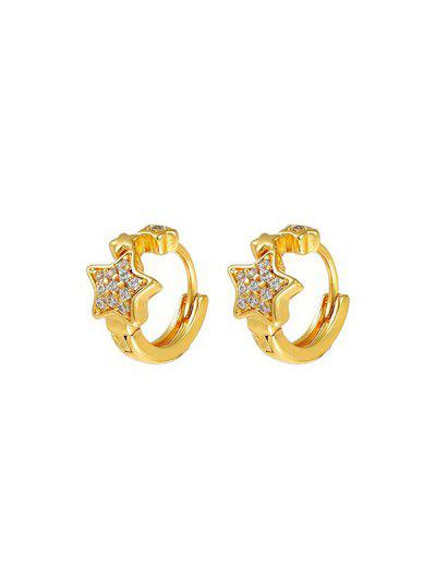 Rhinestone Inlaid Star Embellished Pierced Hoop Earrings - Golden