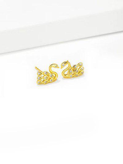 Rhinestone Swan Gold Plated Stud Earrings - White