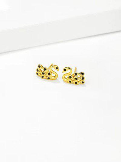 Rhinestone Swan Gold Plated Stud Earrings - Black