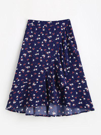 Flounce Hem Flower Print Midi Skirt - Deep Blue M