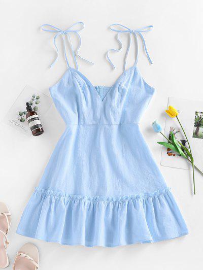 ZAFUL Mini-Robe à Epaule Nouée à Volants - Bleu Clair M