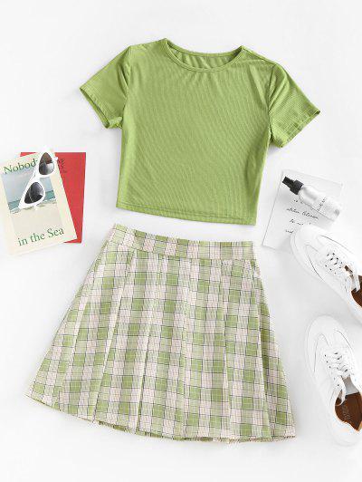ZAFUL Basic Ribbed Tee And Pleated Mini Skirt Set - Light Green S