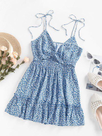 ZAFUL Ditsy Print Ruffle Cutout Tie Shoulder Dress - Light Blue S