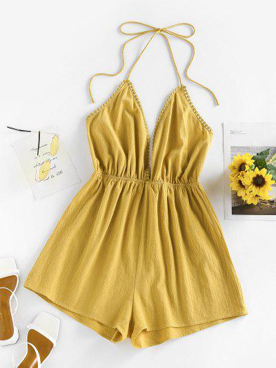 ZAFUL Halter Plunge Front Backless Wide Leg Romper - Deep Yellow S