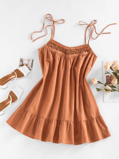 ZAFUL Vestido De Sol De Ganchillo Con Cinto De Panel De Lazo - Naranja Oscuro S