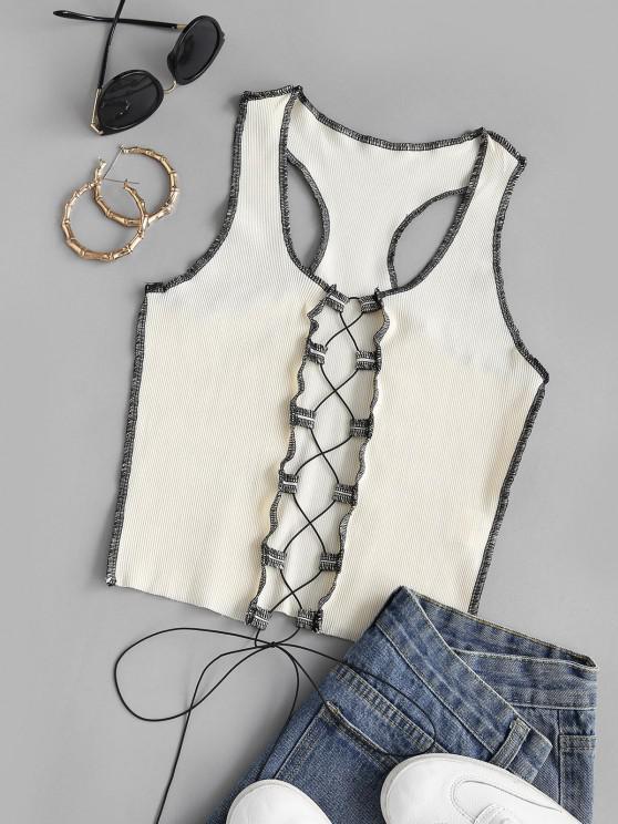 women's Rib-knit Topstitching Lace-up Racer Tank Top - LIGHT YELLOW M