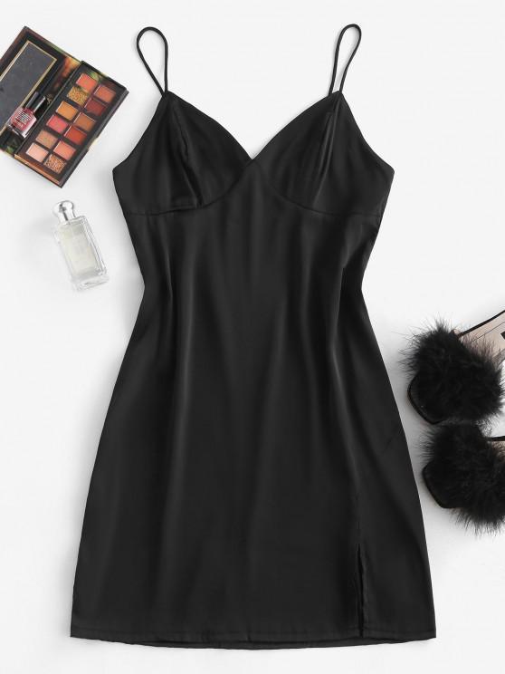 Vestido de Tirantes Finos con Abertura Sedoso - Negro S