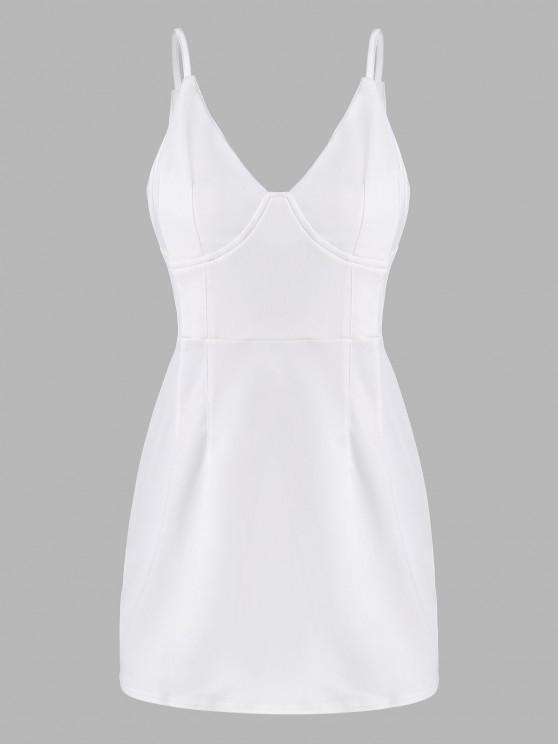 fashion Spaghetti Strap Cup Detail Mini Dress - WHITE M