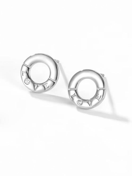 Silbriger Liebesbrief-geschnitzte Runde Ohrstecker - Silber