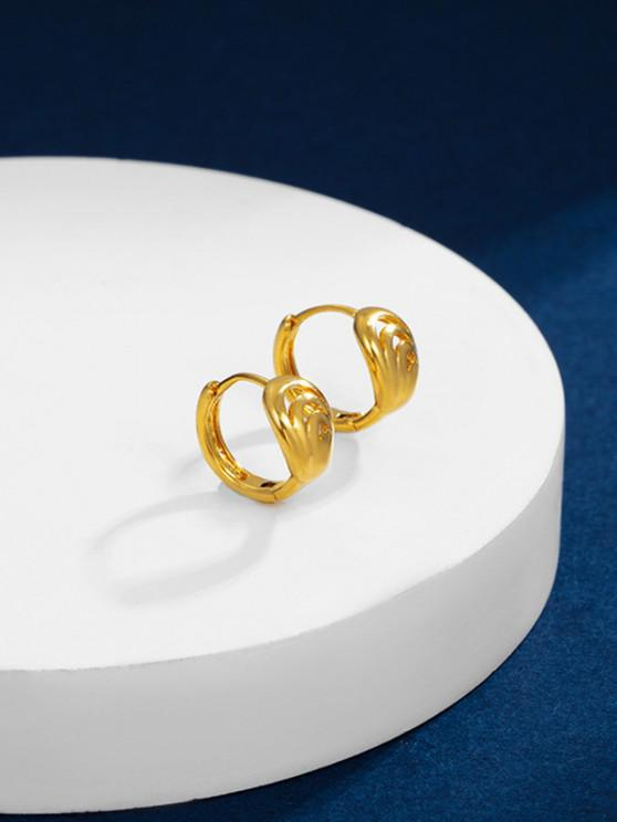 Golden Cut Out Plated Round Hoop Earrings - ذهبي