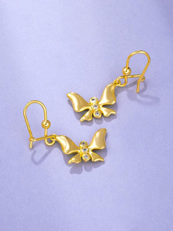 Golden Butterfly Pendant Rhinestone Inlaid Hook Earrings - ذهبي