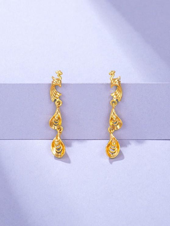 Golden Chinese Phoenix Cut Out Stud Earrings - ذهبي