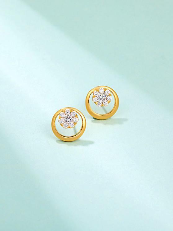 Pendientes de Botón Redondo Adornado de Diamantes de Imitación del Copo de Nieve - dorado