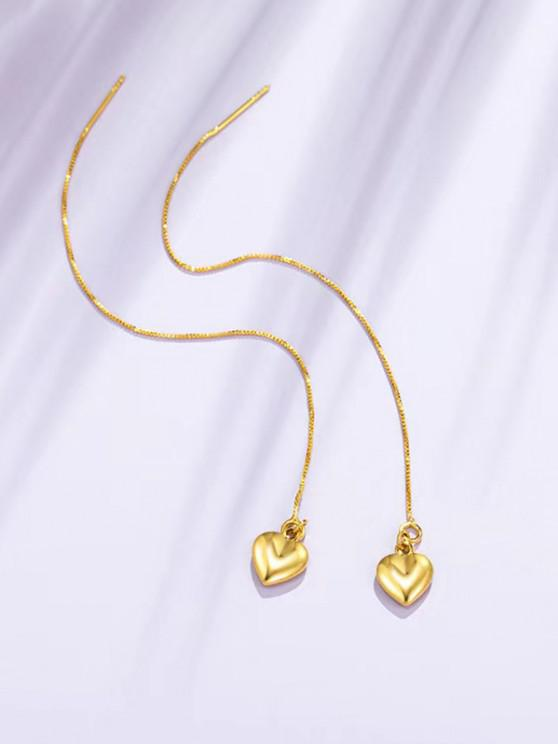 Golden Heart Pendant Long Linear Threader Drop Earrings - ذهبي
