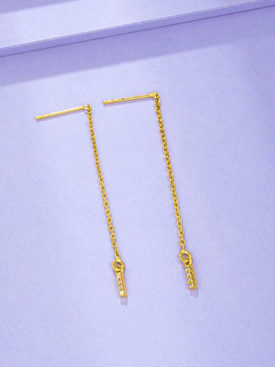 Zircon Inlaid Gold Plated Linear Drop Earrings - ذهبي