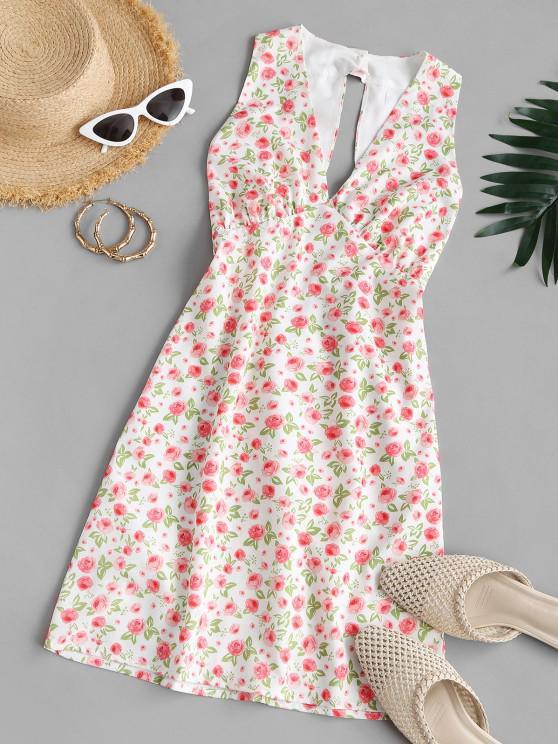 Vestido Mini Recortado Floral - Multicolor M
