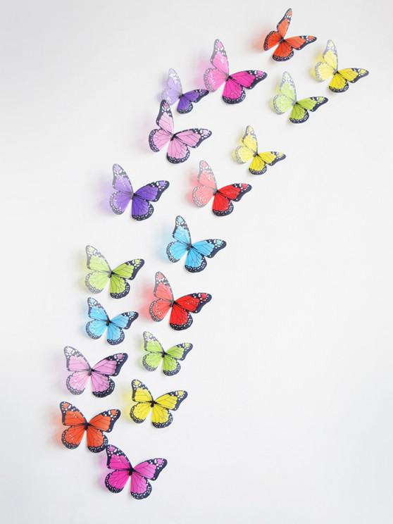 lady 3D Colorful Butterfly Wall Decorative Stickers Set - MULTI 18PCS
